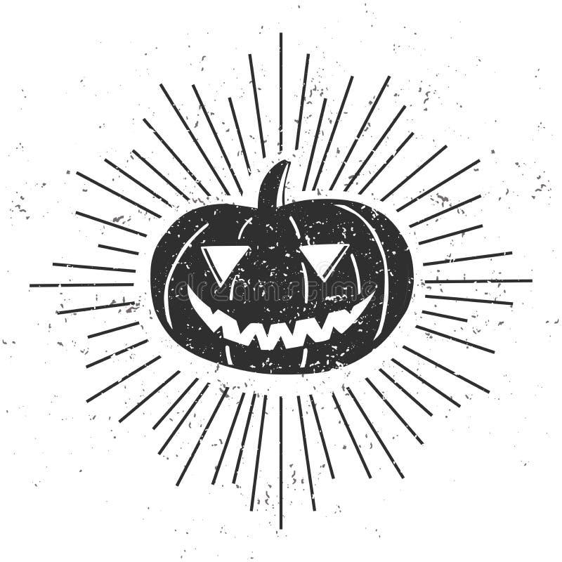 Halloweenowy plakatowy projekt z grunge teksturą royalty ilustracja