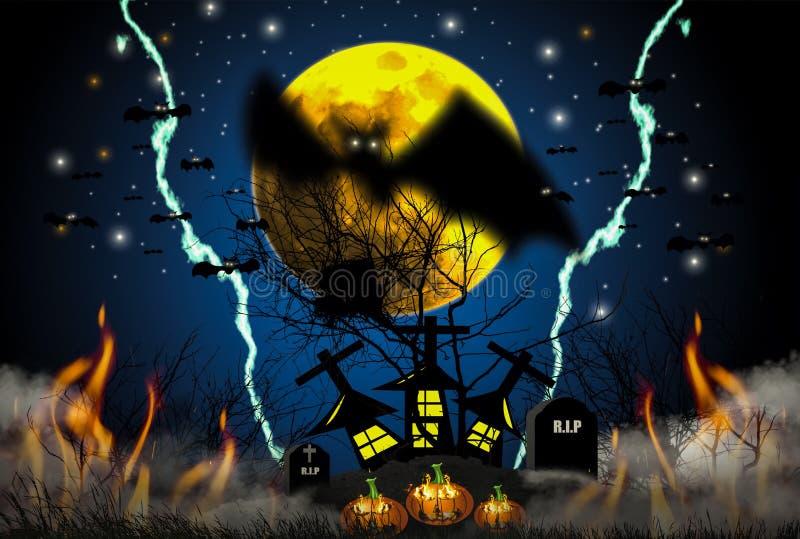 Halloweenowy pojęcie z śródnocnymi horroru, mgły, trawy i bani palenia płomieniami z, wypełniał z krucyfiksami royalty ilustracja