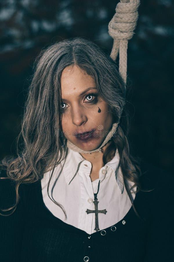 Halloweenowy portret przerażająca kobieta obrazy royalty free