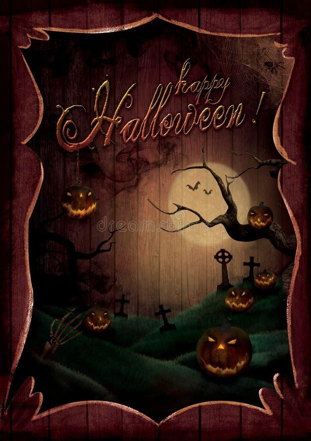 Halloweenowy projekt - bani Theatre royalty ilustracja