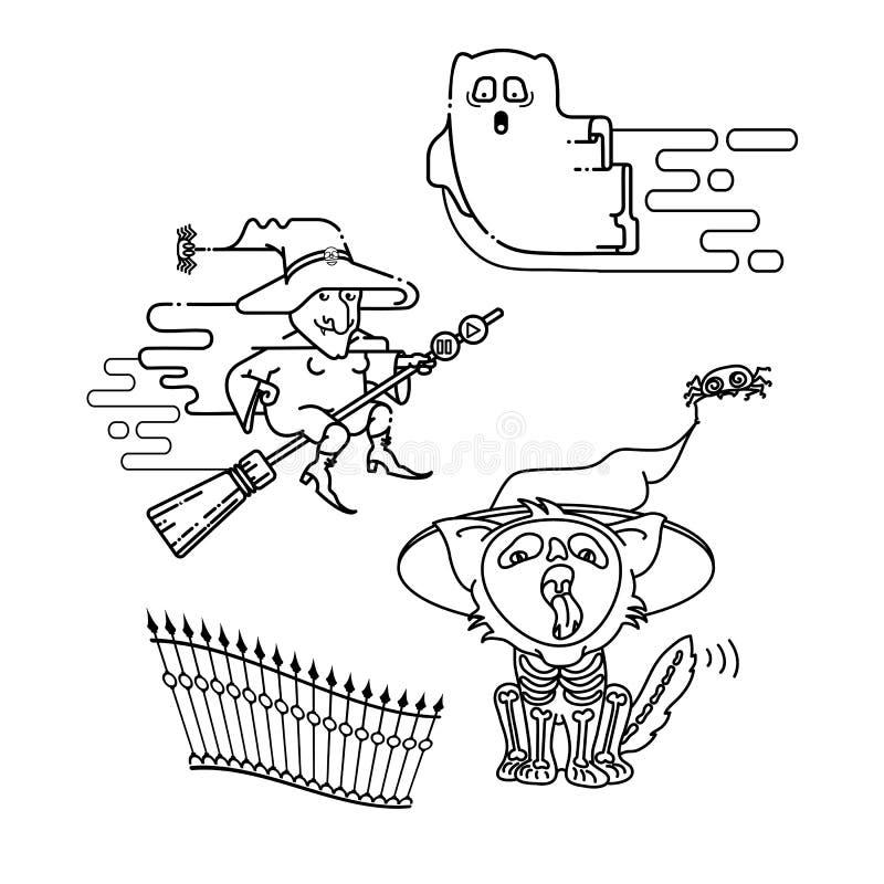 Halloweenowy projekt Liniowy hag, widmo i kot ikony, wektor ilustracji