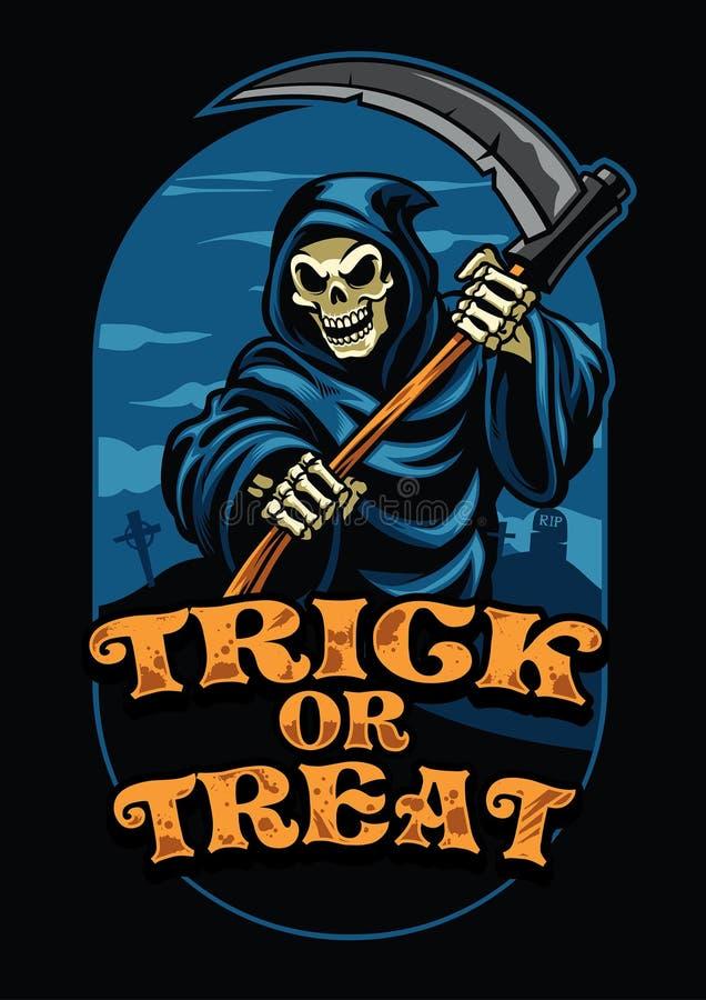 Halloweenowy projekt ponura żniwiarka ilustracji