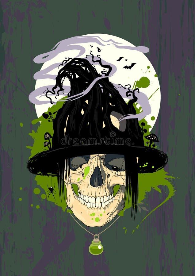 Halloweenowy projekt z czarownicą. ilustracji