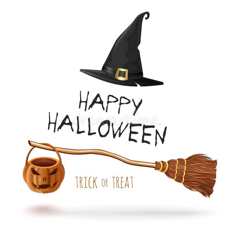 Halloweenowy projekt z czarownica kapeluszem i miotłą ilustracji
