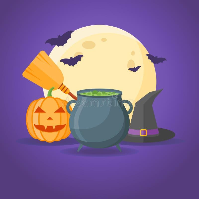Halloweenowy projekt z kotłem, czarownicami kapelusz, miotłą, banią, księżyc w pełni i nietoperzami, ilustracja wektor
