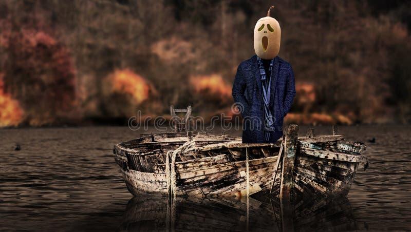 Halloweenowy przerażający bani głowy duch unosi się w strasznym krajobrazie na naczyniu zdjęcie stock