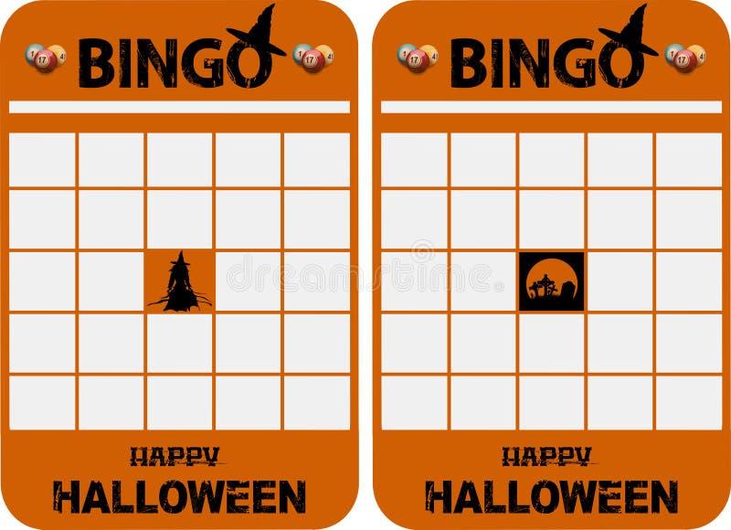 Halloweenowy puste miejsce dekorować bingo karty ilustracji
