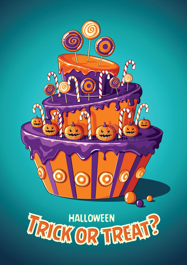 Halloweenowy rocznika wektoru plakat sztuczka przysmaki Tort i cukierki ilustracji