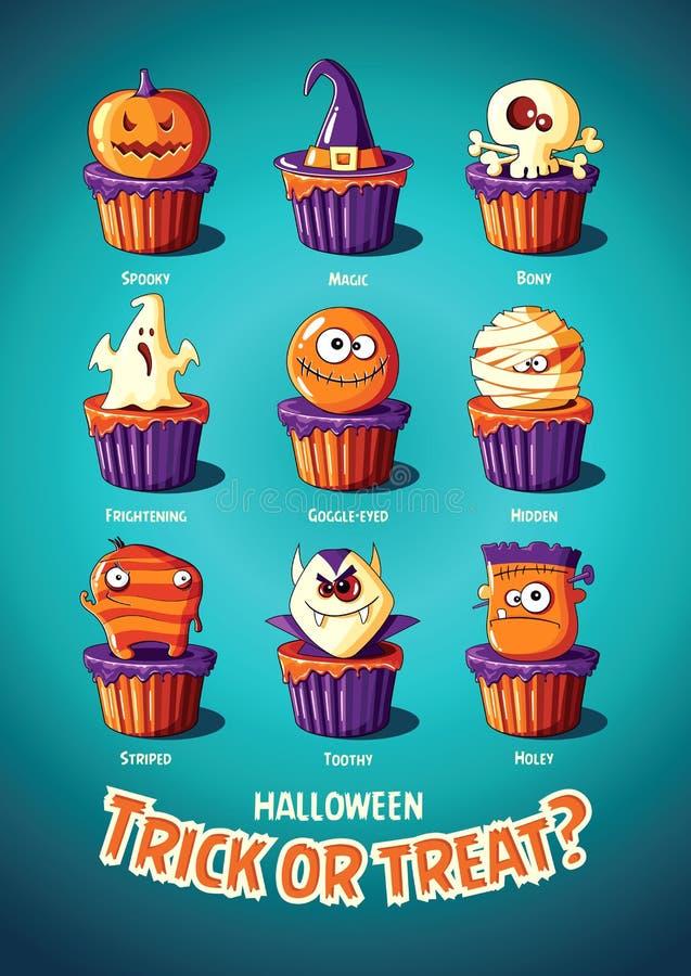 Halloweenowy rocznika wektoru plakat sztuczka przysmaki Torty z potworami royalty ilustracja