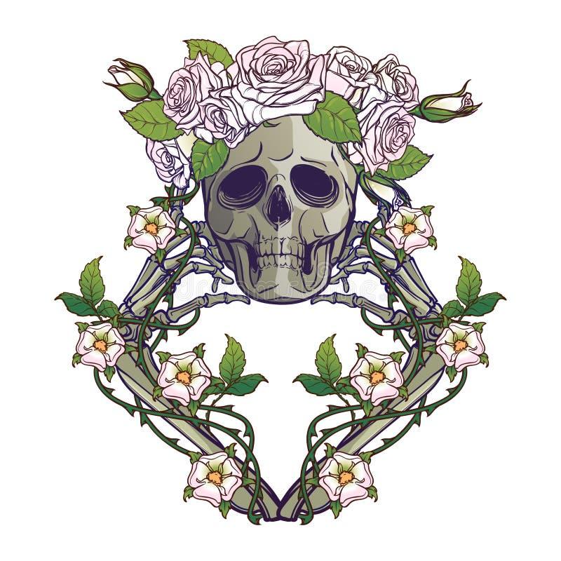 Halloweenowy Santa Muerte Ludzka czaszka w róża wianku i ręk kościach w róż girlandach Mistyczny charakter Tatuaż ilustracji