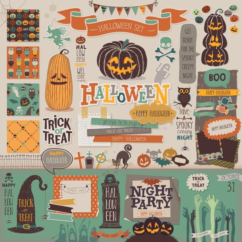 Halloweenowy scrapbook ustawiający - dekoracyjni elementy royalty ilustracja