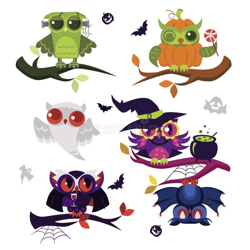 Halloweenowy sowy mieszkania set royalty ilustracja