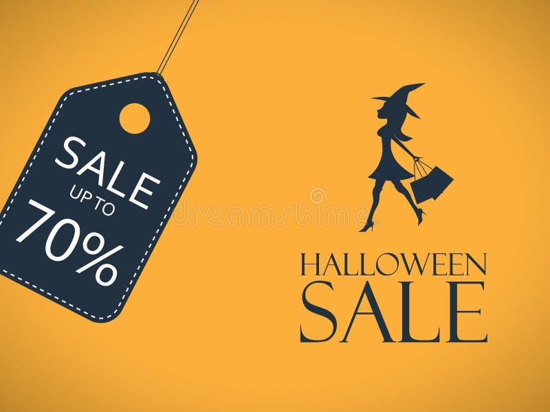 Halloweenowy sprzedaż plakat Dyskontowy majcher z seksownym ilustracja wektor