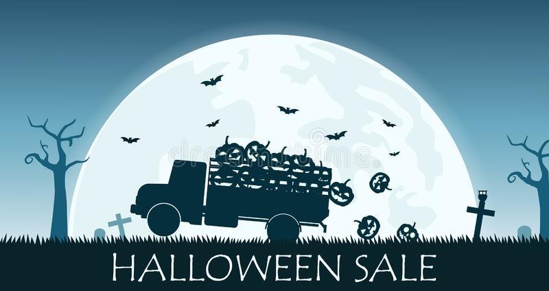 Halloweenowy sprzedaż sztandar z ciężarówką niesie uśmiech bani na księżyc w pełni tle ilustracja wektor