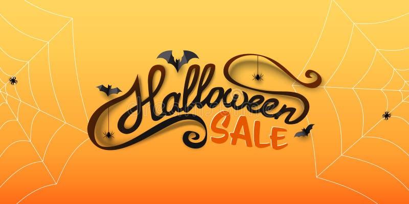 Halloweenowy sprzedaż sztandar z kaligrafia tekstem, papierowi nietoperze, pająki, spiderwebs Ręka rysujący literowanie ilustracji