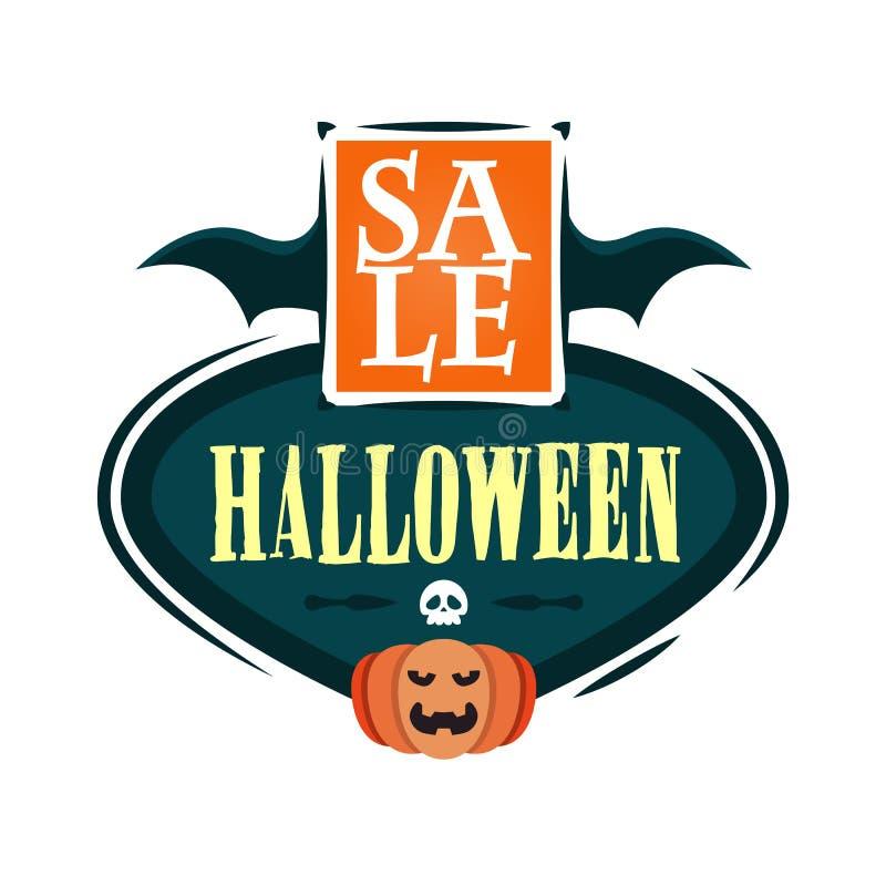 Halloweenowy sprzedaży oferty projekta szablon Wektorowa ilustracja z latanie banią i tytułem button ręce s push odizolowana pocz ilustracja wektor