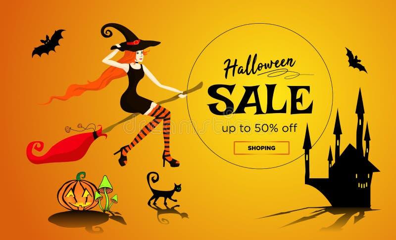 Halloweenowy sprzedaży promocji plakat, sztandar z pięknym redhair czarownicy lataniem na broomstick, czarny kot i zmrok, roszuje royalty ilustracja