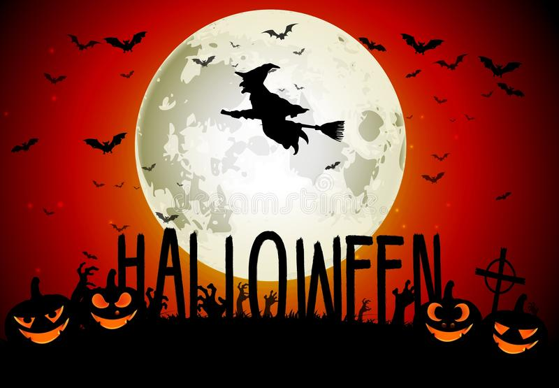 Halloweenowy straszny dom na księżyc w pełni tle ilustracja wektor