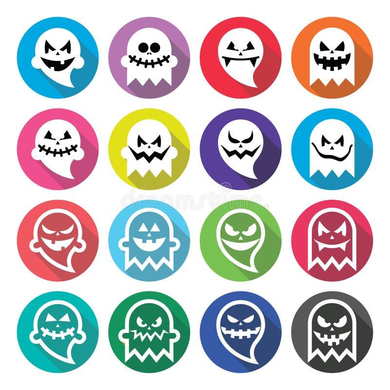 Halloweenowy straszny duch, spirytusowe płaskie projekt ikony ustawiać ilustracja wektor