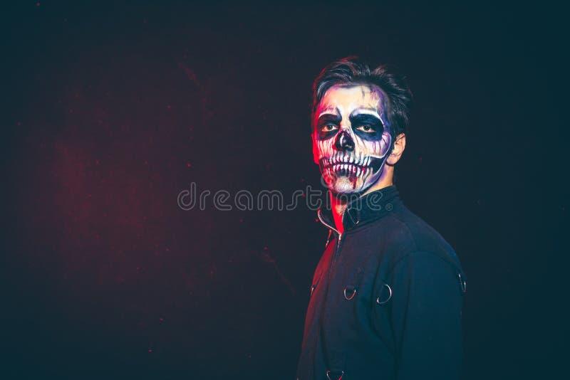 Halloweenowy straszny zredukowany mężczyzna portret zdjęcie royalty free