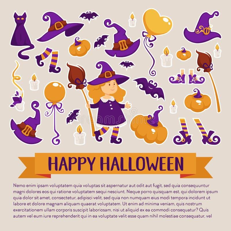 Halloweenowy sztandar z ikonami na Halloweenowym temacie ilustracja wektor
