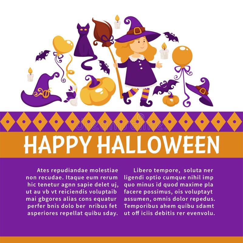 Halloweenowy sztandar z ikonami na Halloweenowym temacie royalty ilustracja