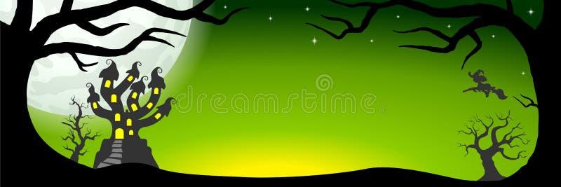 Halloweenowy sztandar z nawiedzającym kasztelem ilustracja wektor