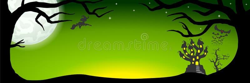 Halloweenowy sztandar z nawiedzającym kasztelem royalty ilustracja