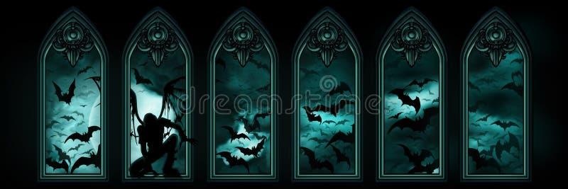 Halloweenowy sztandar z nietoperzami i spadać aniołem ilustracji