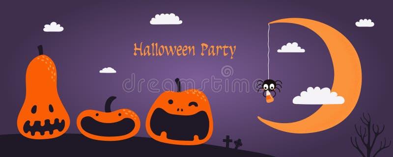 Halloweenowy sztandaru projekt ilustracji