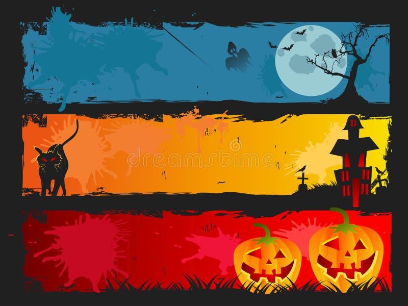 Halloweenowy sztandaru set royalty ilustracja