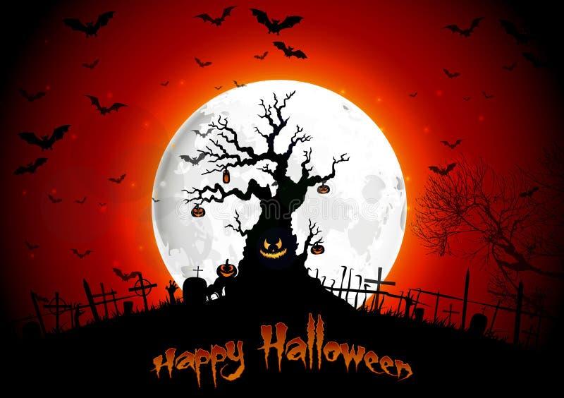 Halloweenowy tło na księżyc w pełni ilustracji