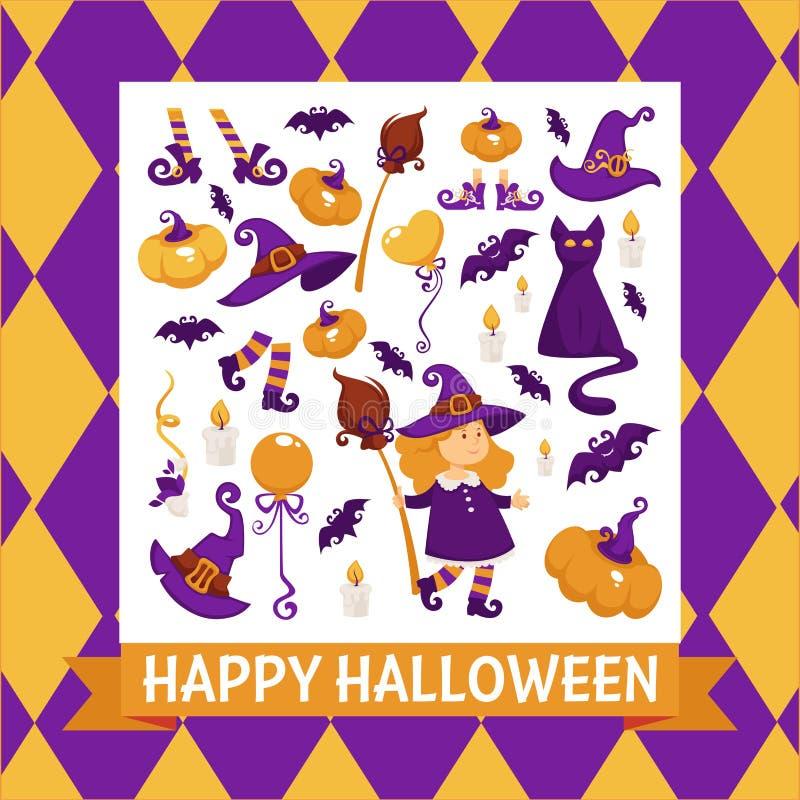 Halloweenowy tło plakat Wektor rama z banią royalty ilustracja