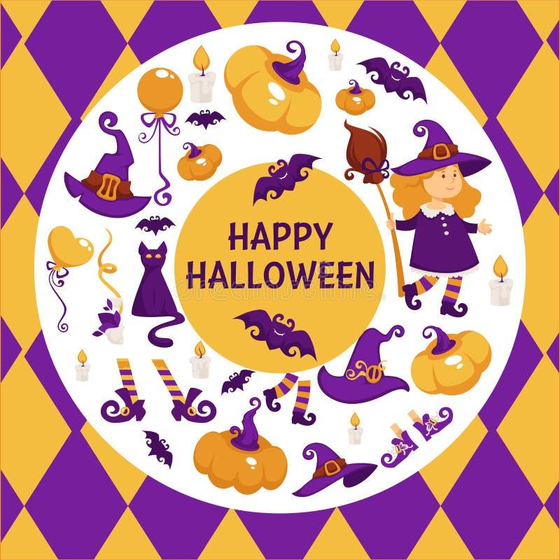 Halloweenowy tło plakat Wektorowa okręgu kształta rama z banią ilustracja wektor