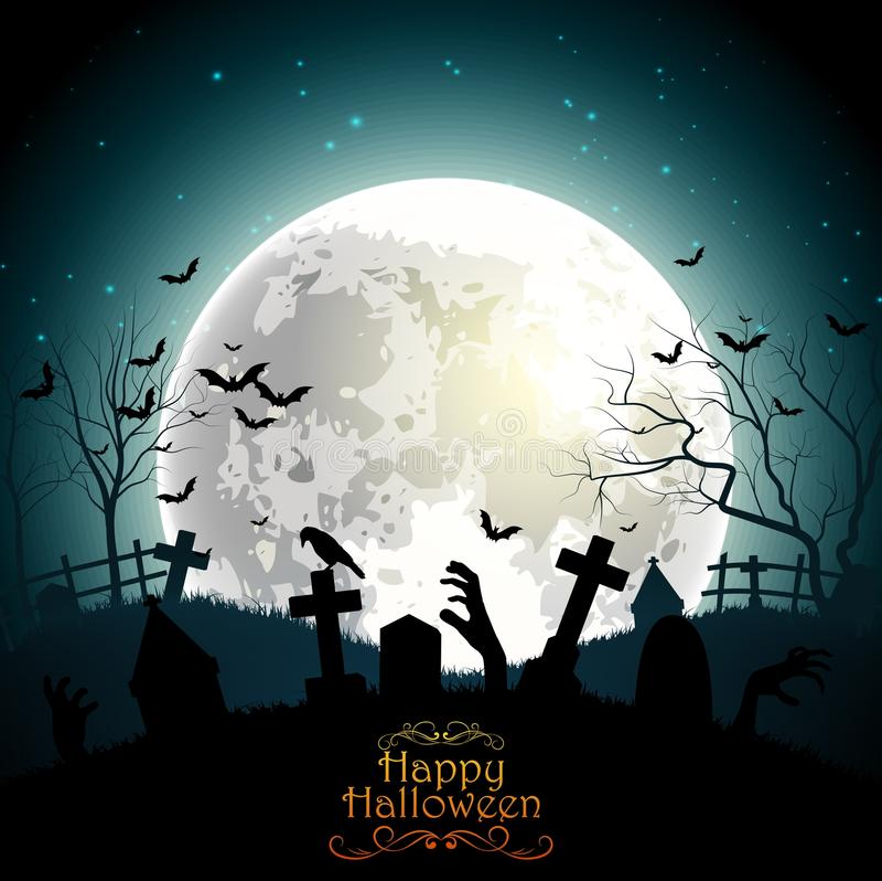 Halloweenowy tło z żywy trup rękami na księżyc w pełni royalty ilustracja