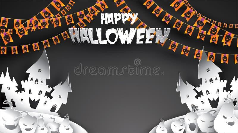 Halloweenowy tło z banią, nawiedzającym domem i księżyc w pełni w papierowym sztuki cyzelowania stylu, sztandar, plakat, tem, ulo ilustracja wektor