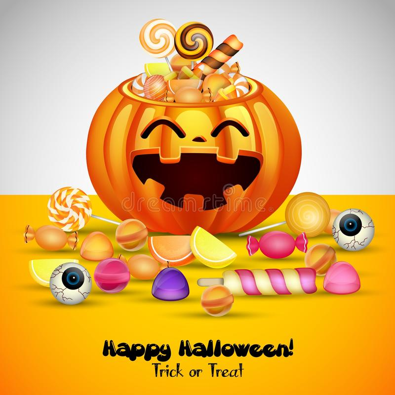 Halloweenowy tło z baniami kosz i cukierki ilustracji