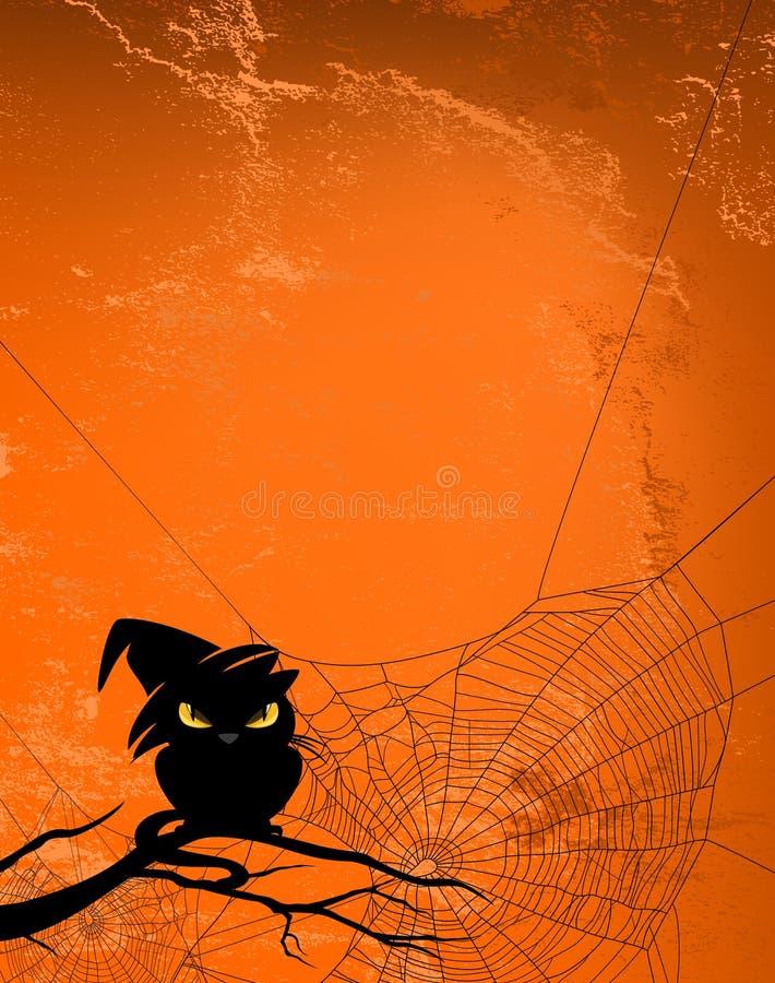 Halloweenowy tło z czarnego kota i pająka siecią ilustracja wektor