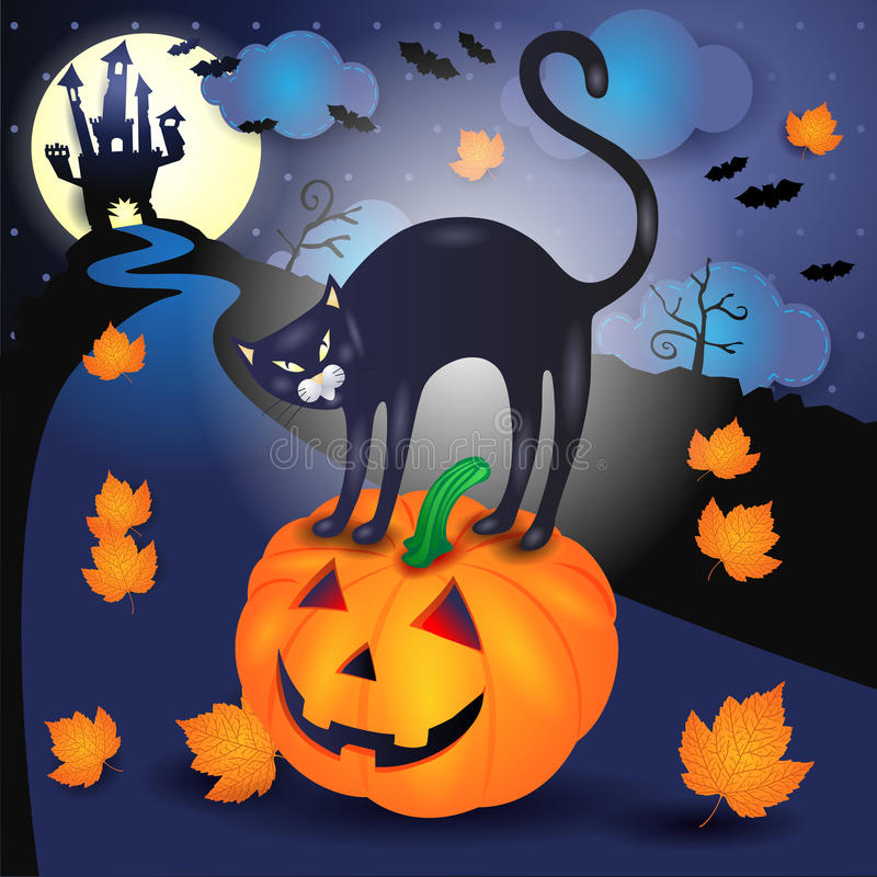 Halloweenowy tło z czarnym kotem i banią ilustracja wektor