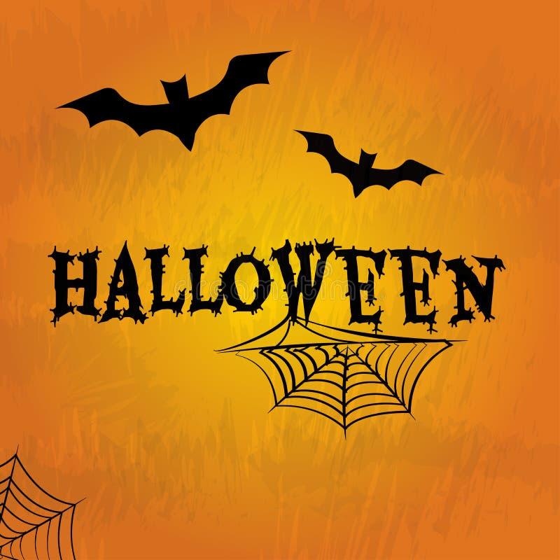 Halloweenowy tło z czarnymi nietoperzami, pajęczynami i wpisowym Halloween, wektor ilustracji