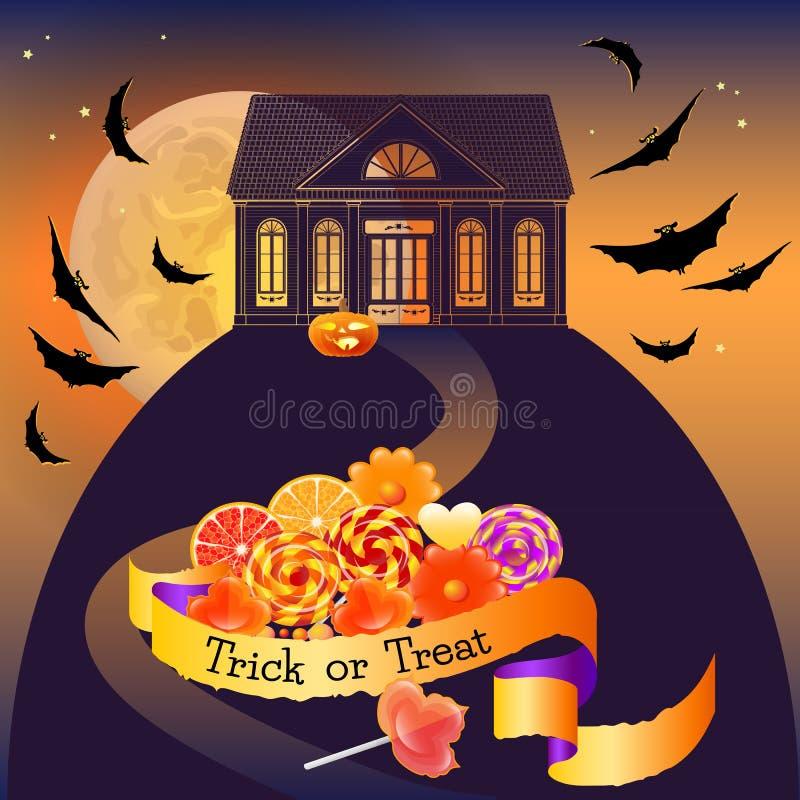 Halloweenowy tło z domem, cukierki i słowo sztuczka, Taktujemy ilustracja wektor
