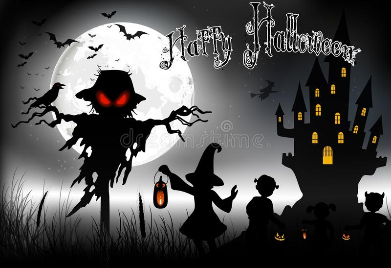 Halloweenowy tło z duchem, strasznym domem i małymi dziewczynkami na księżyc w pełni, ilustracji