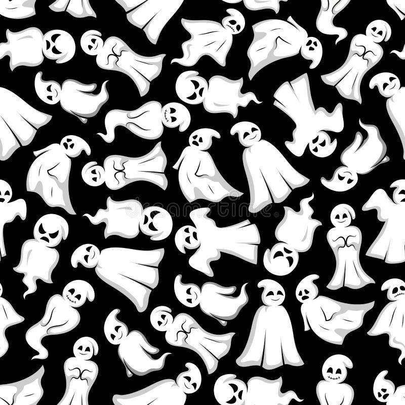 Halloweenowy tło z kreskówka duchami royalty ilustracja