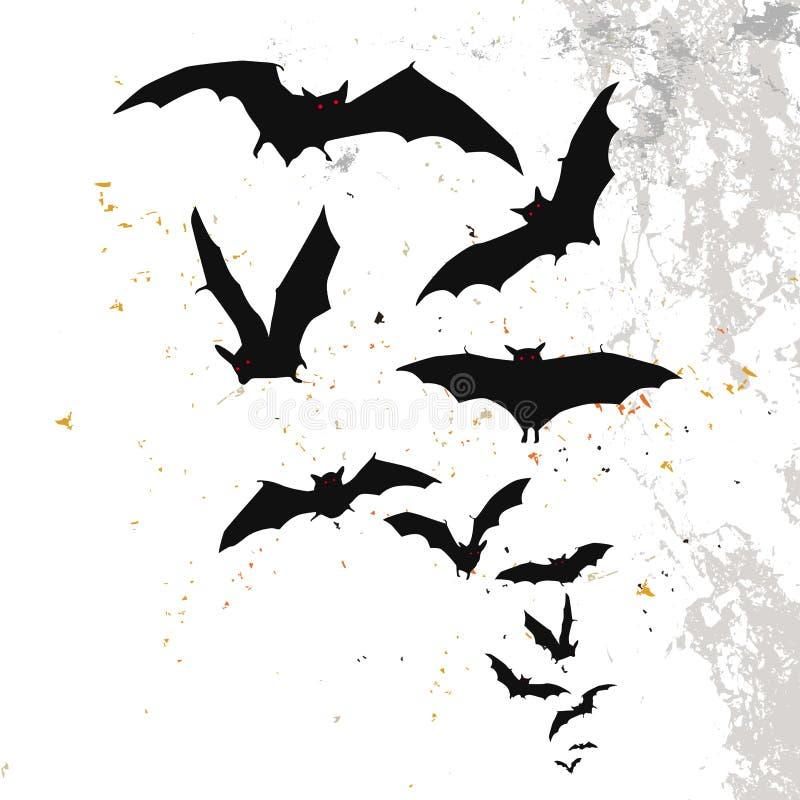 Halloweenowy tło z księżyc w pełni i nietoperzami royalty ilustracja