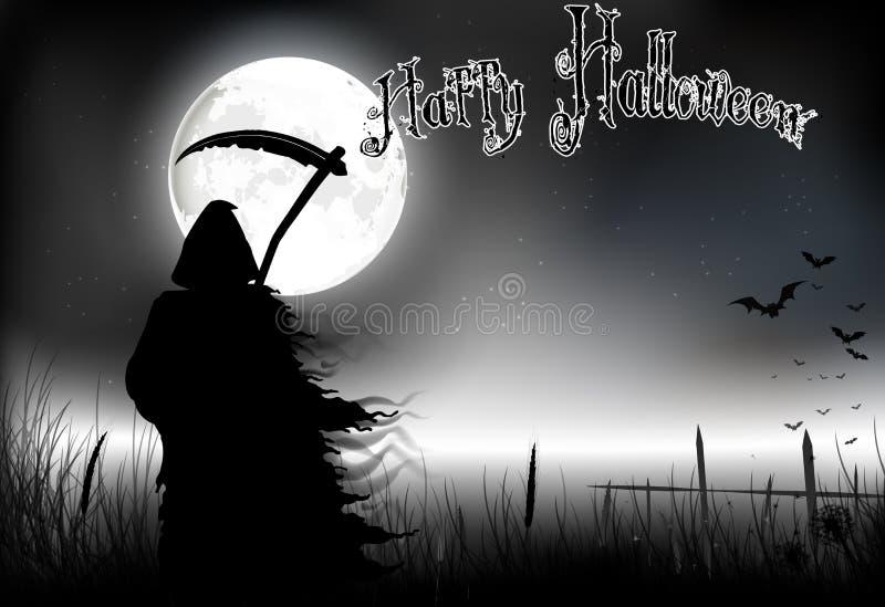 Halloweenowy tło z scytheman pozycją na księżyc w pełni ilustracja wektor