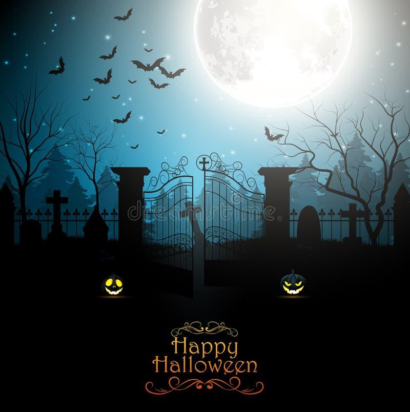 Halloweenowy tło z strasznym cmentarzem ilustracji