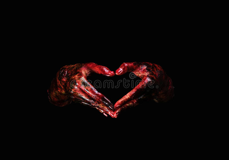 Halloweenowy temat: Krwiste ręki obraz royalty free