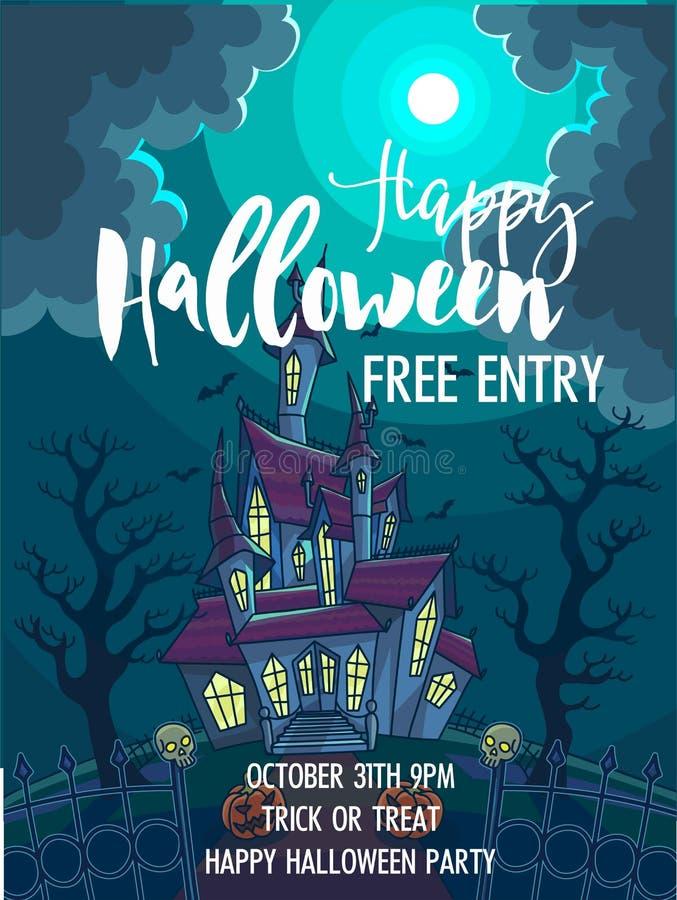 Halloweenowy trikowy lub funda partyjny zaproszenia wektoru plakat ilustracja wektor