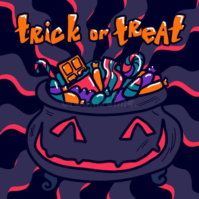Halloweenowy trikowy lub funda pojęcia tło, ręka rysujący styl ilustracja wektor