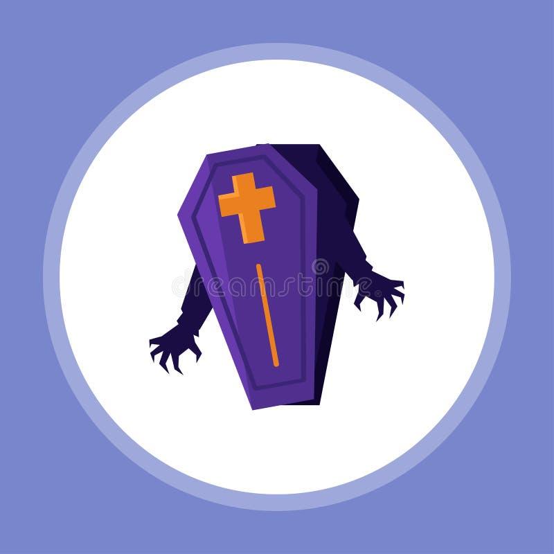 Halloweenowy trumienny wektorowy ikona znaka symbol ilustracja wektor